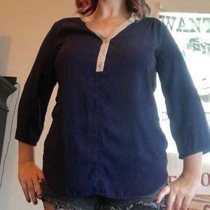 New York & Company dark blue blouse